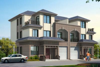 农村兄弟双拼中式别墅设计图,带外观效果图,左右户型相同