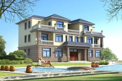 农村兄弟双拼别墅三层设计图,含外观效果图片