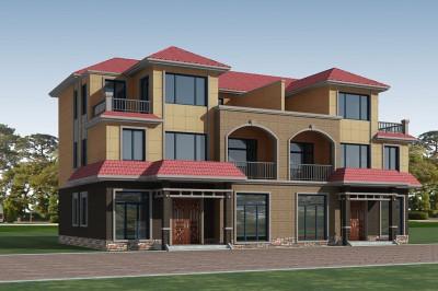 三层兄弟双拼别墅全套设计图纸,外观漂亮、大气
