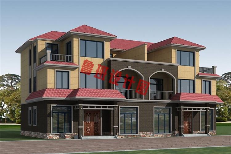 简欧风格三层双拼别墅自建房屋设计外观图
