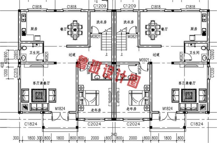 简欧风格三层双拼别墅自建房屋设计一层户型图