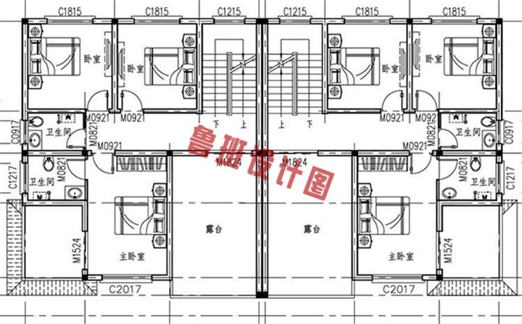 简欧风格三层双拼别墅自建房屋设计三层户型图