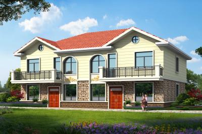 180平精致大气二层双拼别墅楼房设计图,带效果图