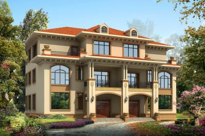 砖混结构两层半双拼别墅设计图,整体简约时尚