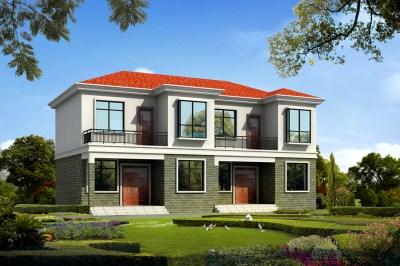 小户型兄弟双拼二层别墅设计图,小宅基地照样建双拼。