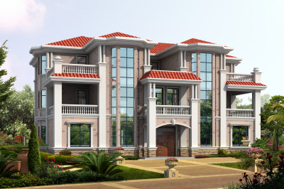 农村双拼自建房三层别墅设计图,外观时尚