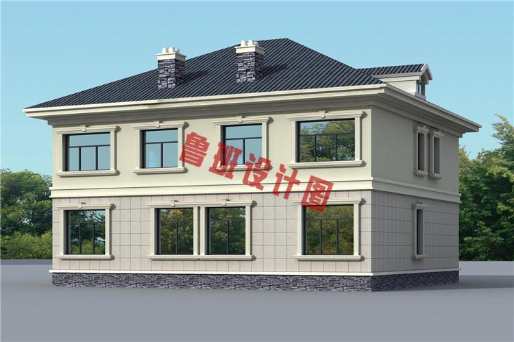 二层双拼别墅设计外观图