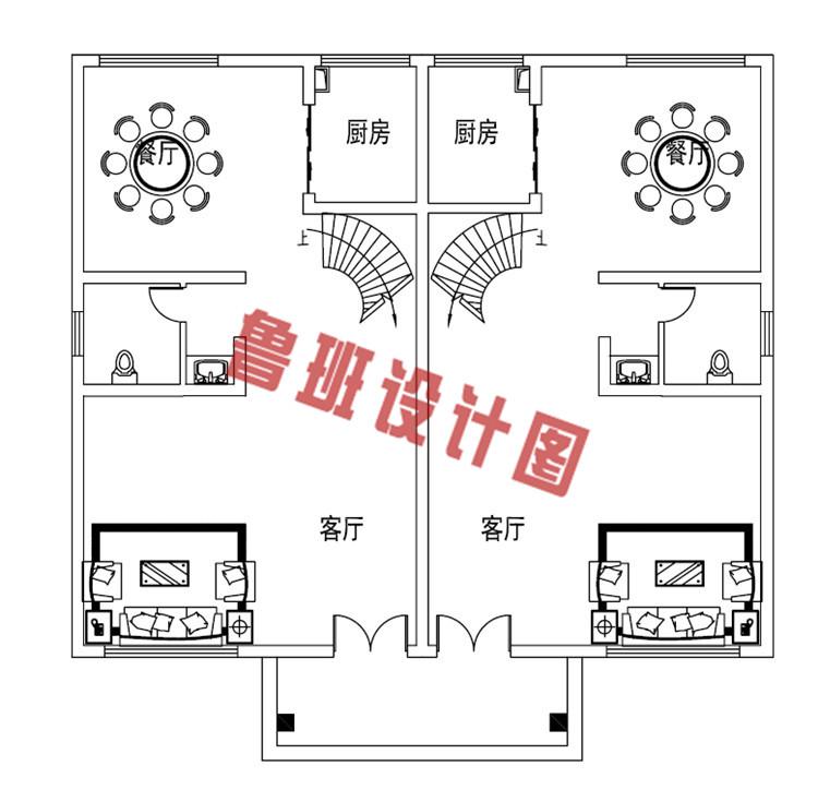 二层双拼别墅设计一层户型图