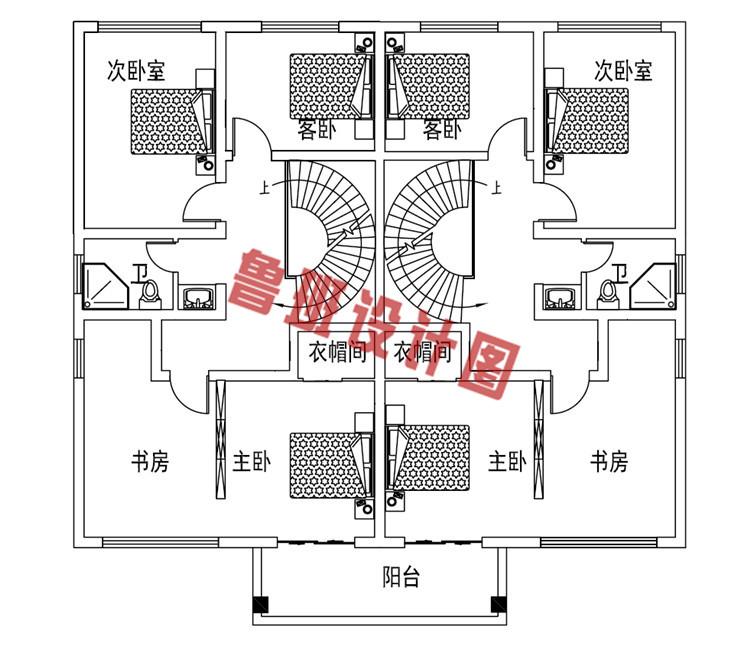 二层双拼别墅设计二层户型图