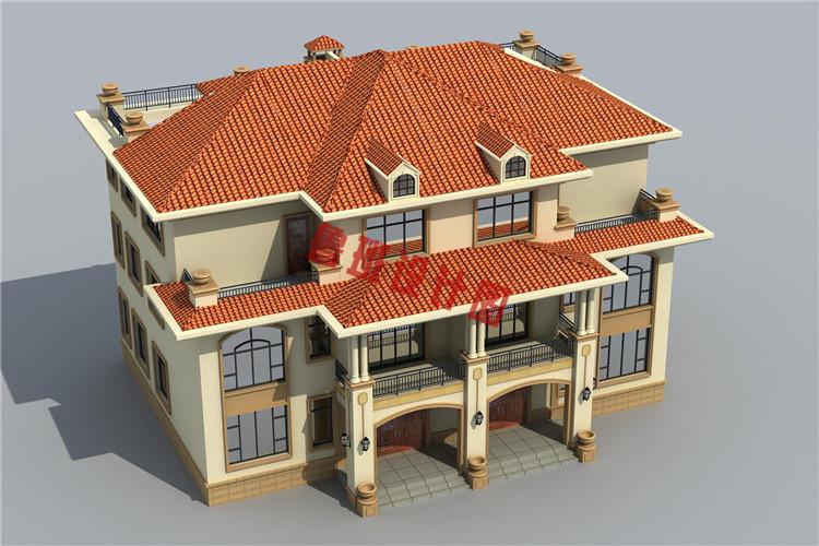 三层半双拼别墅设计外观图