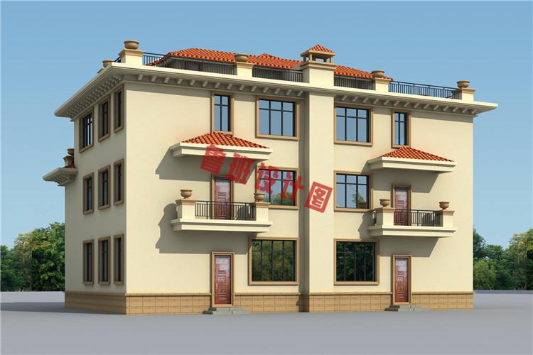 三层半双拼别墅设计图片