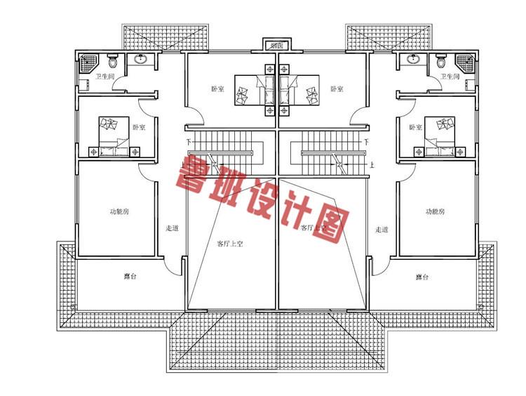 三层半双拼别墅设计三层户型图