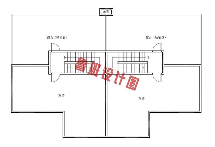 三层半双拼别墅设计阁楼户型图