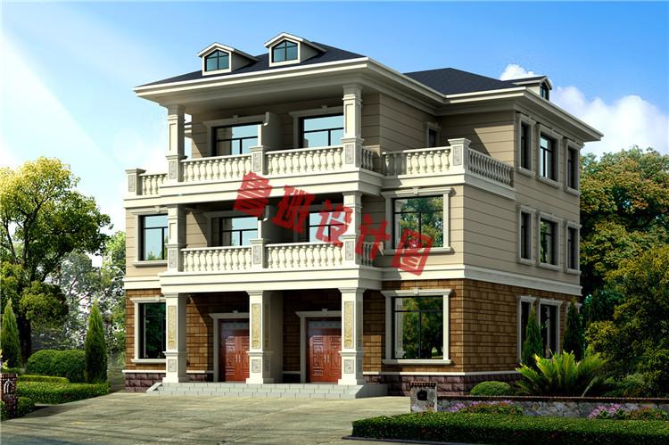 三层带老虎窗双拼自建房屋设计效果图