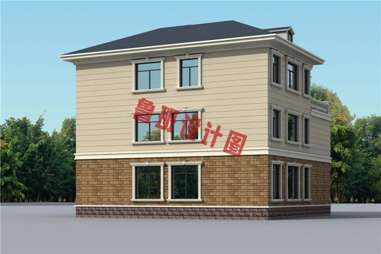 三层带老虎窗双拼自建房屋设计外观图