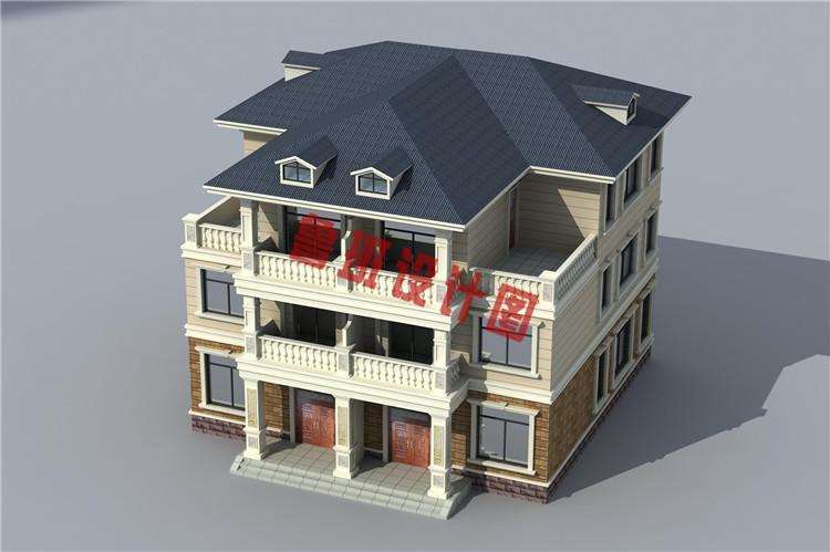 三层带老虎窗双拼自建房屋设计图片