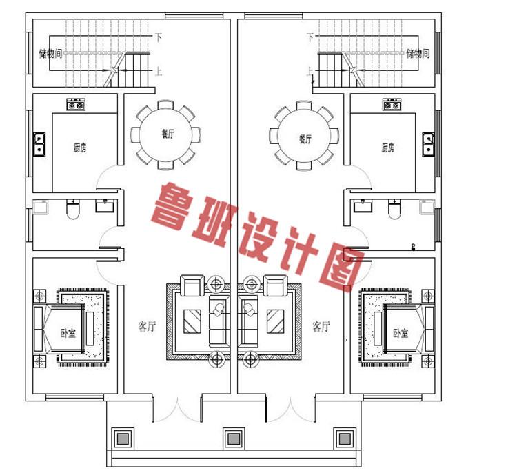 三层带老虎窗双拼自建房屋设计一层户型图