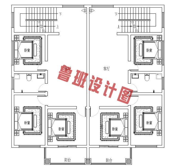 三层带老虎窗双拼自建房屋设计二层户型图