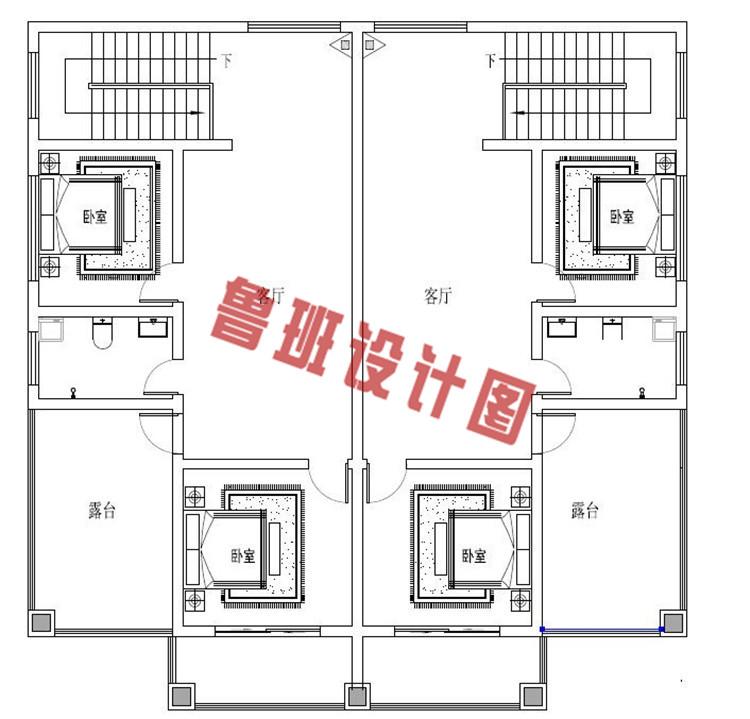 三层带老虎窗双拼自建房屋设计三层户型图