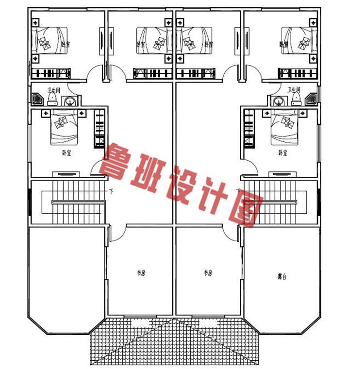 农村双拼别墅设计三层户型图