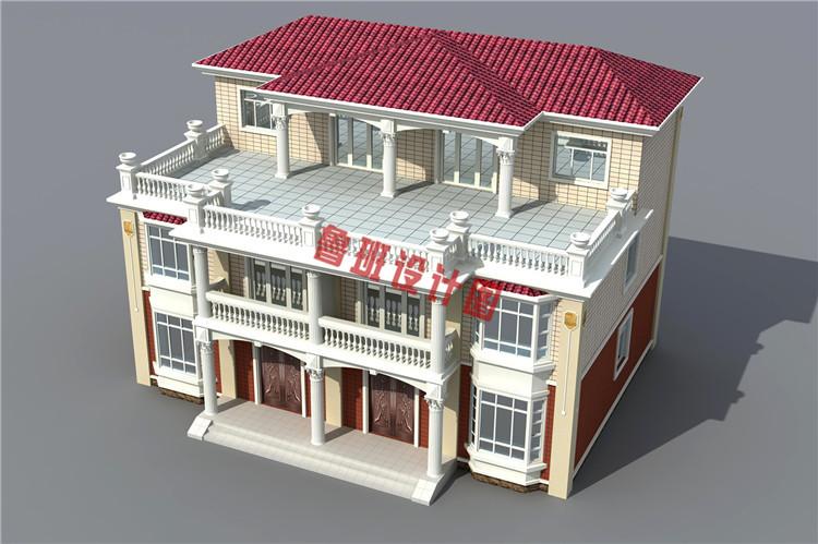 三层双拼联排别墅设计外观图