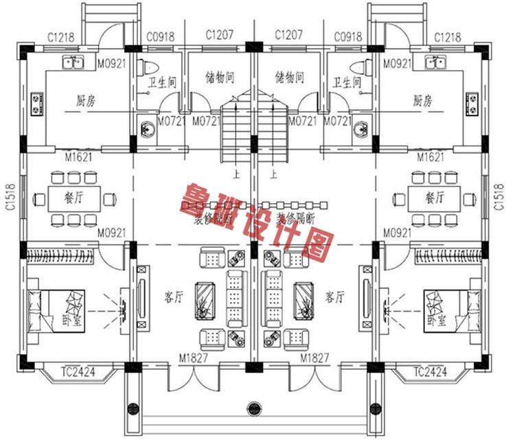 三层双拼联排别墅设计一层户型图
