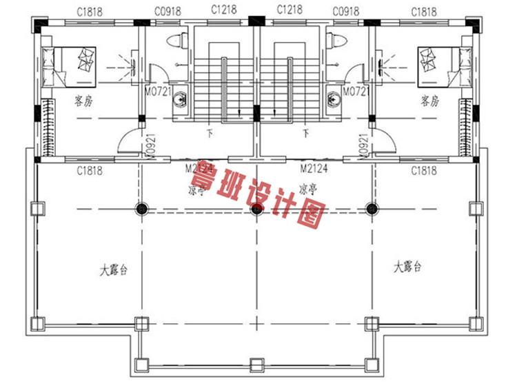 三层双拼联排别墅设计三层户型图