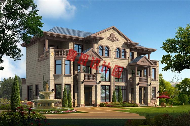 欧式豪华三层双拼别墅设计效果图