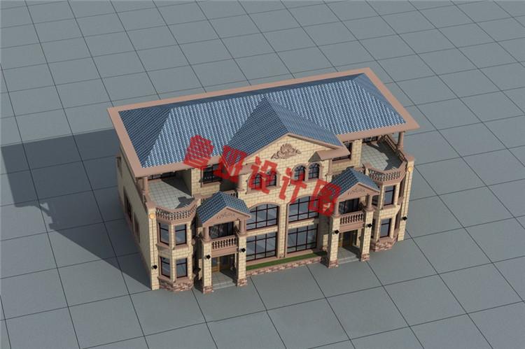 欧式豪华三层双拼别墅设计鸟瞰图