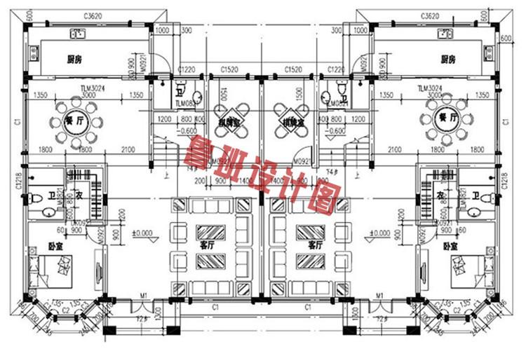 欧式豪华三层双拼别墅设计一层户型图