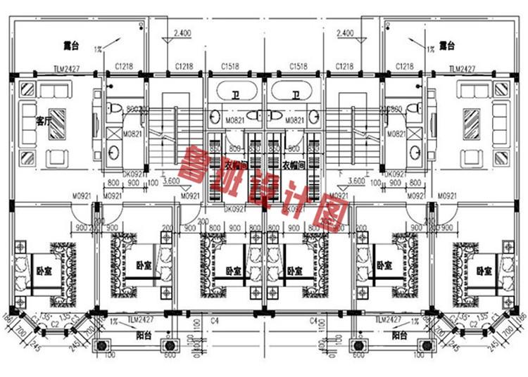 欧式豪华三层双拼别墅设计二层户型图