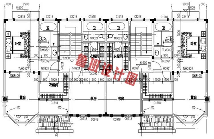 欧式豪华三层双拼别墅设计三层户型图