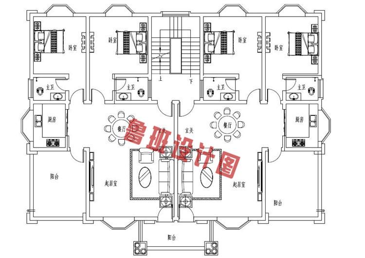 三层农村兄弟双拼别墅房屋设计二层户型图