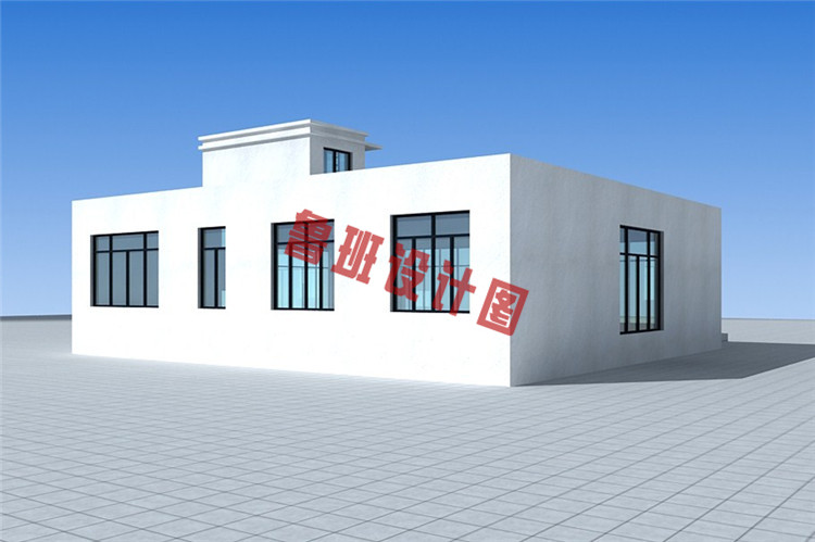 后现代中式小别墅设计背面图