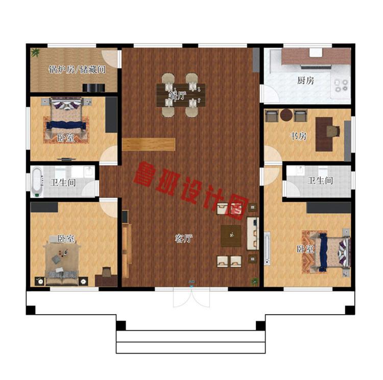 火爆款一层小别墅设计室内户型图