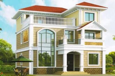 农村40万三层别墅款式设计图,复式带宽大落地窗
