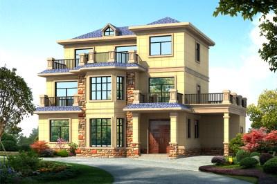 农村40万三层别墅图片及自建房设计图,外观效果气派