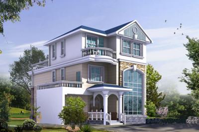 欧式三层别墅自建房屋设计图,客厅中空,带车库和屋顶花园
