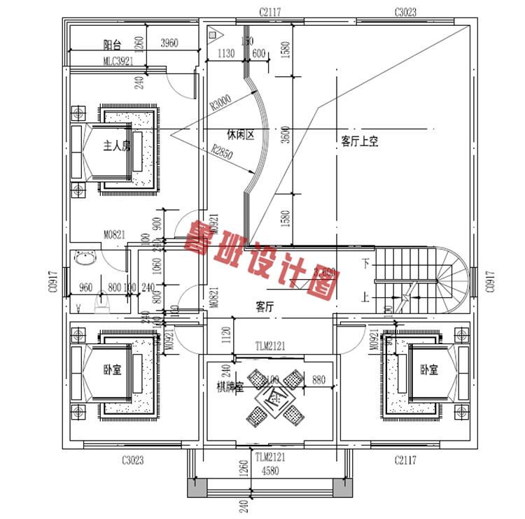 欧式三层别墅设计二层户型图