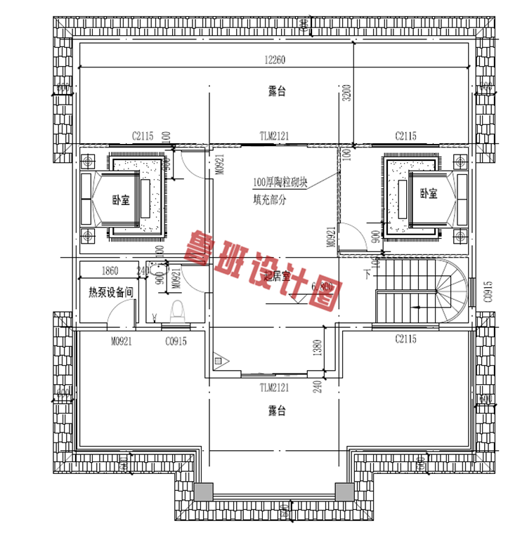 欧式三层别墅设计三层户型图