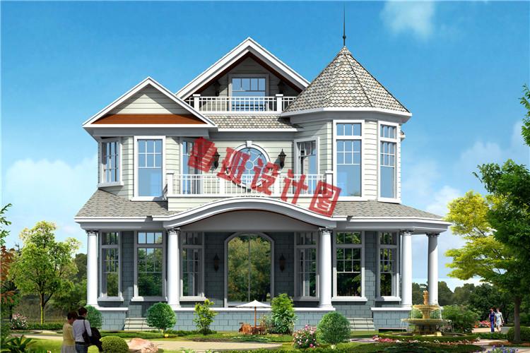 欧式二层半框架别墅自建房设计外观图