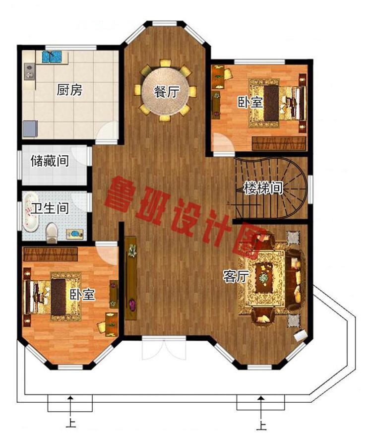 欧式二层半框架别墅自建房设计一层户型图