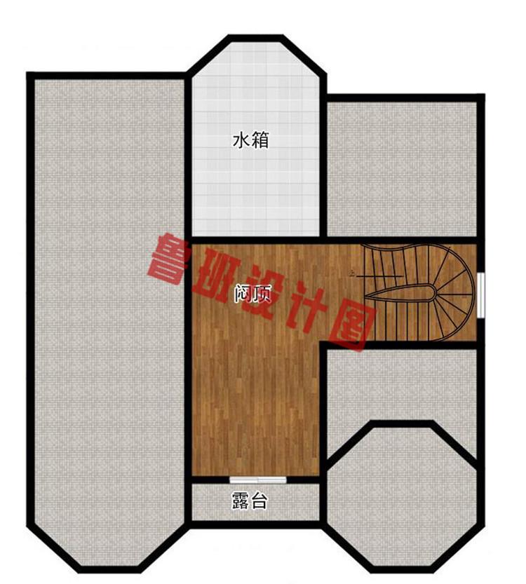 欧式二层半框架别墅自建房设计阁楼户型图