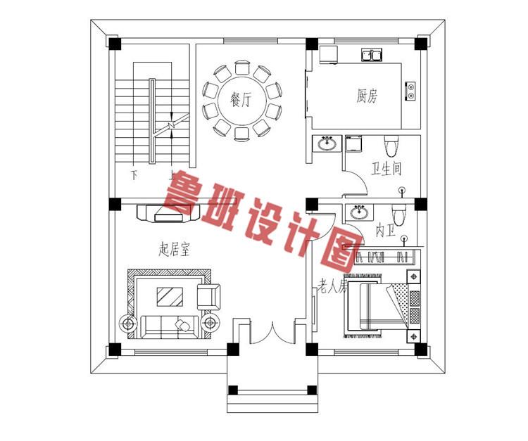 热销款三层别墅推荐房屋设计一层户型图