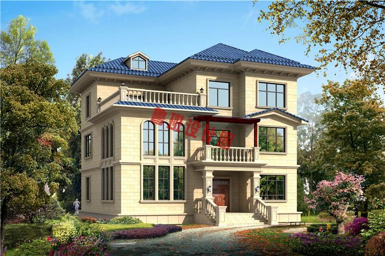 复式三层自建房屋设计效果图