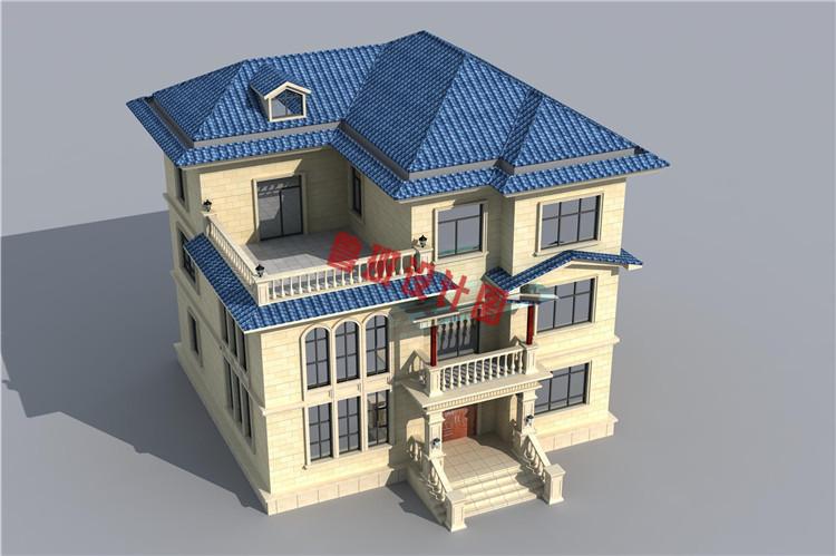 复式三层自建房屋设计鸟瞰图