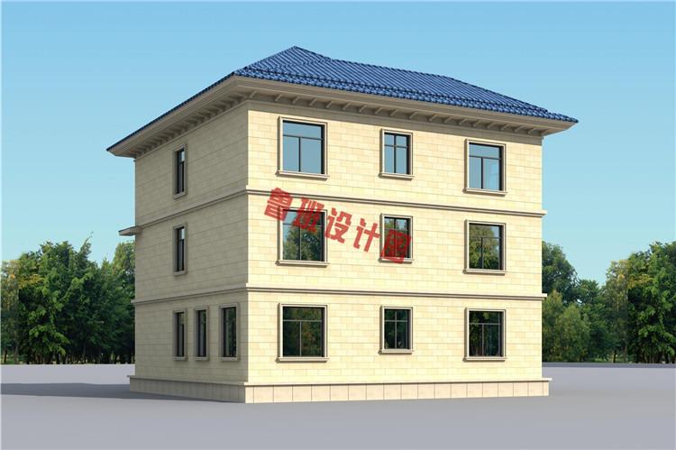 复式三层自建房屋设计背面图