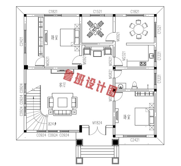 复式三层自建房屋设计一层户型图