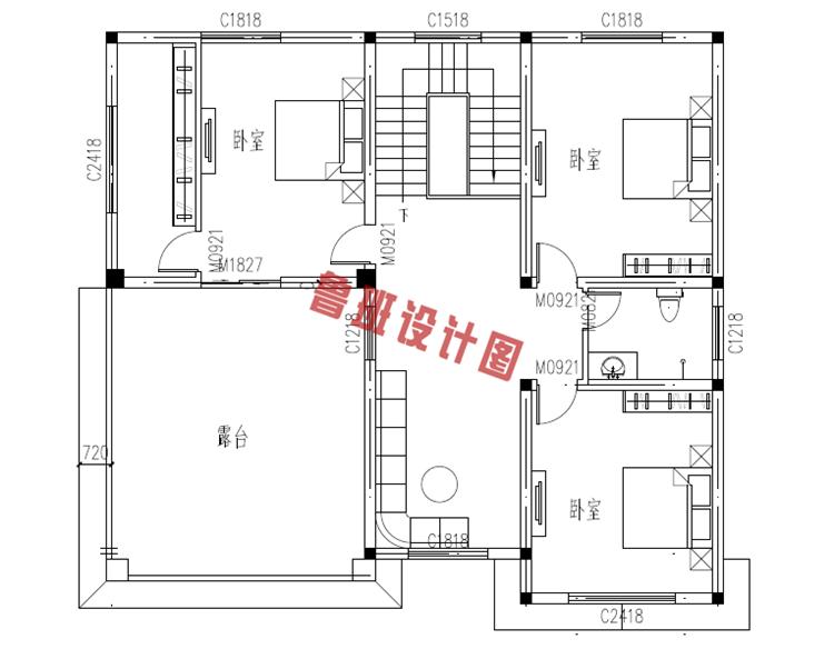 复式三层自建房屋设计三层户型图