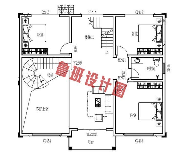 三层带地下室别墅洋房设计二层户型图